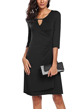 ACEVOG AVEVOG Women Formal Dress O-Neck 3/4 Sleeve Cocktail Business Ruched Swing