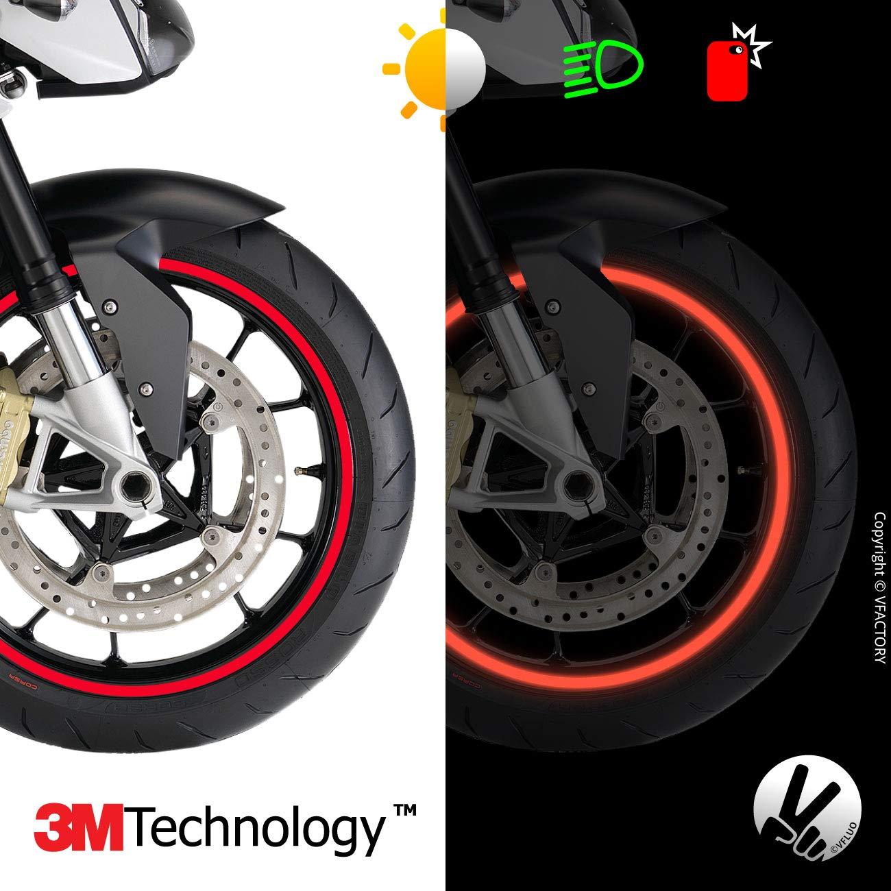 1 Rueda Amarillo Fluorescente Anchura XL : 10 mm VFLUO Circular/™ Kit de Cintas 3M Technology/™ Rayas Retro Reflectantes para Llantas de Moto