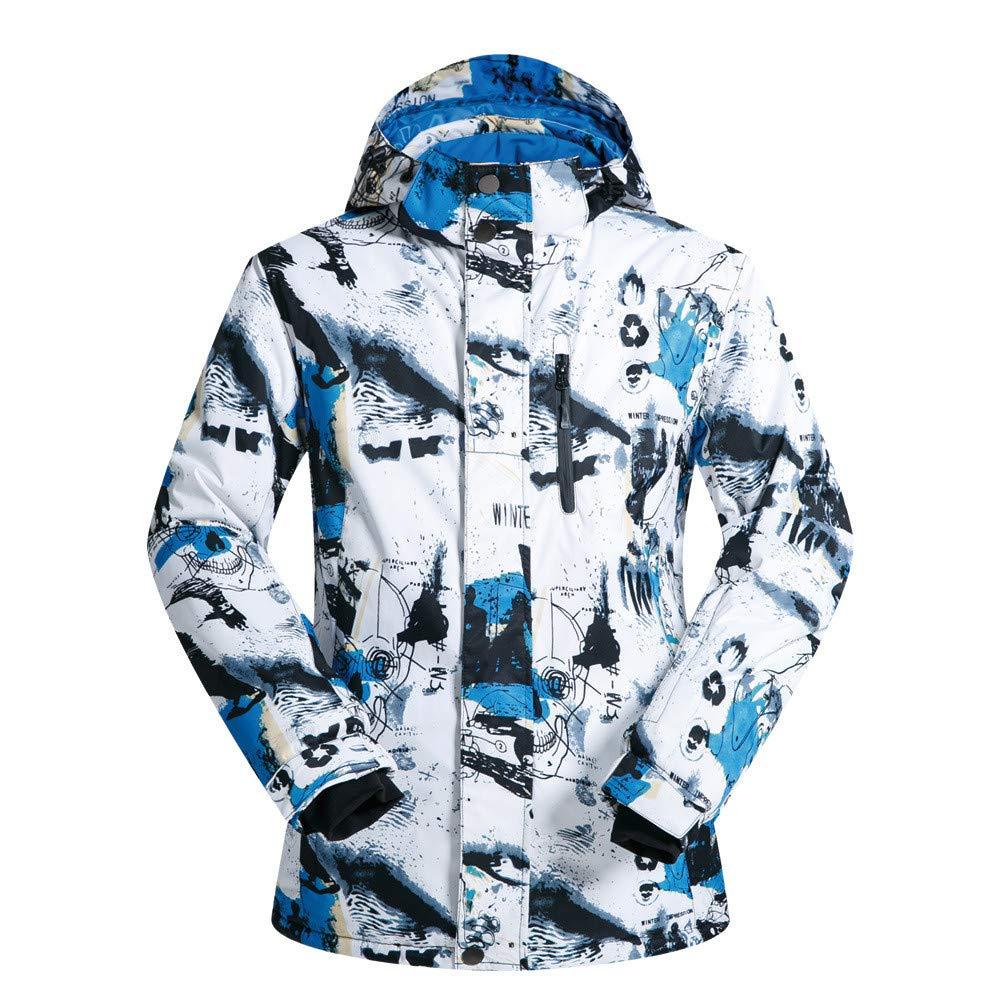 スキーウェア メンズスキースノーボードジャケット防水暖かい冬の裏地付きジャケット ユニセックススキーセット (色 : 白い 青, サイズ : XXL) 白い 青 XX-Large