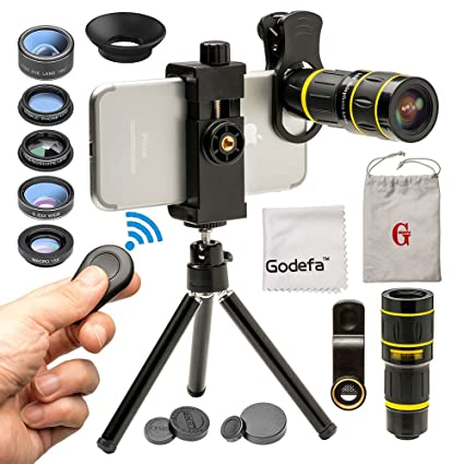 Godefa Cell Phone Camera Lens with Tripod+ Shutter Remote,6 in 1 18x  Telephoto Zoom Lens/Wide Angle/Macro/Fisheye/Kaleidoscope/CPL, Clip-On  lense