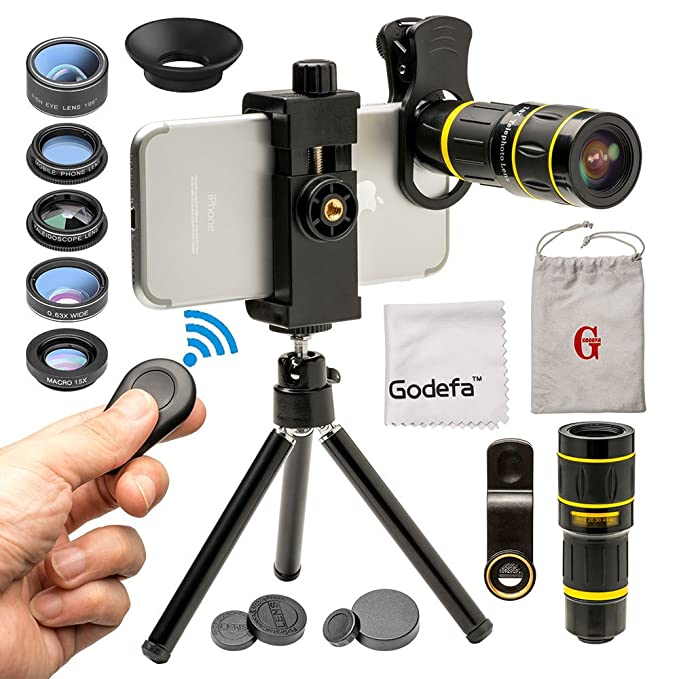 fa92de17b515cd Godefa Cell Phone Camera Lens with Tripod+ Shutter Remote,6 in 1 18x Telephoto  Zoom