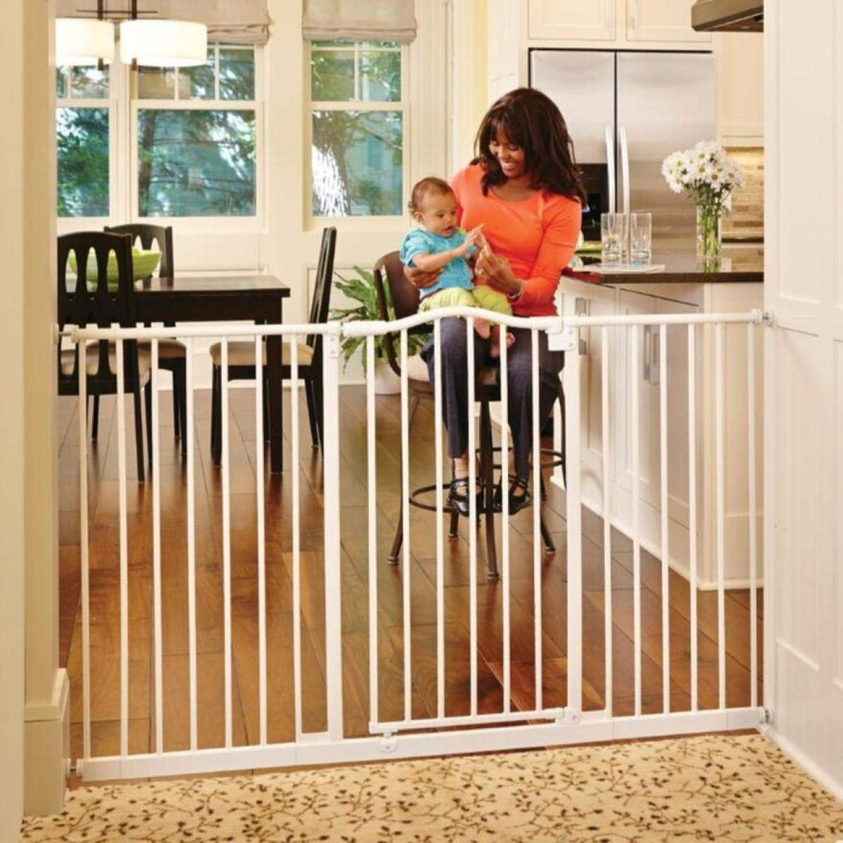 North States 46.8 Wide Tall Wide Portico Arch Baby Gate Decorative heavy-duty metal gate that s both extra wide and extra tall. Pressure mount. Fits 28.2 -46.8 wide 36 tall, Soft White