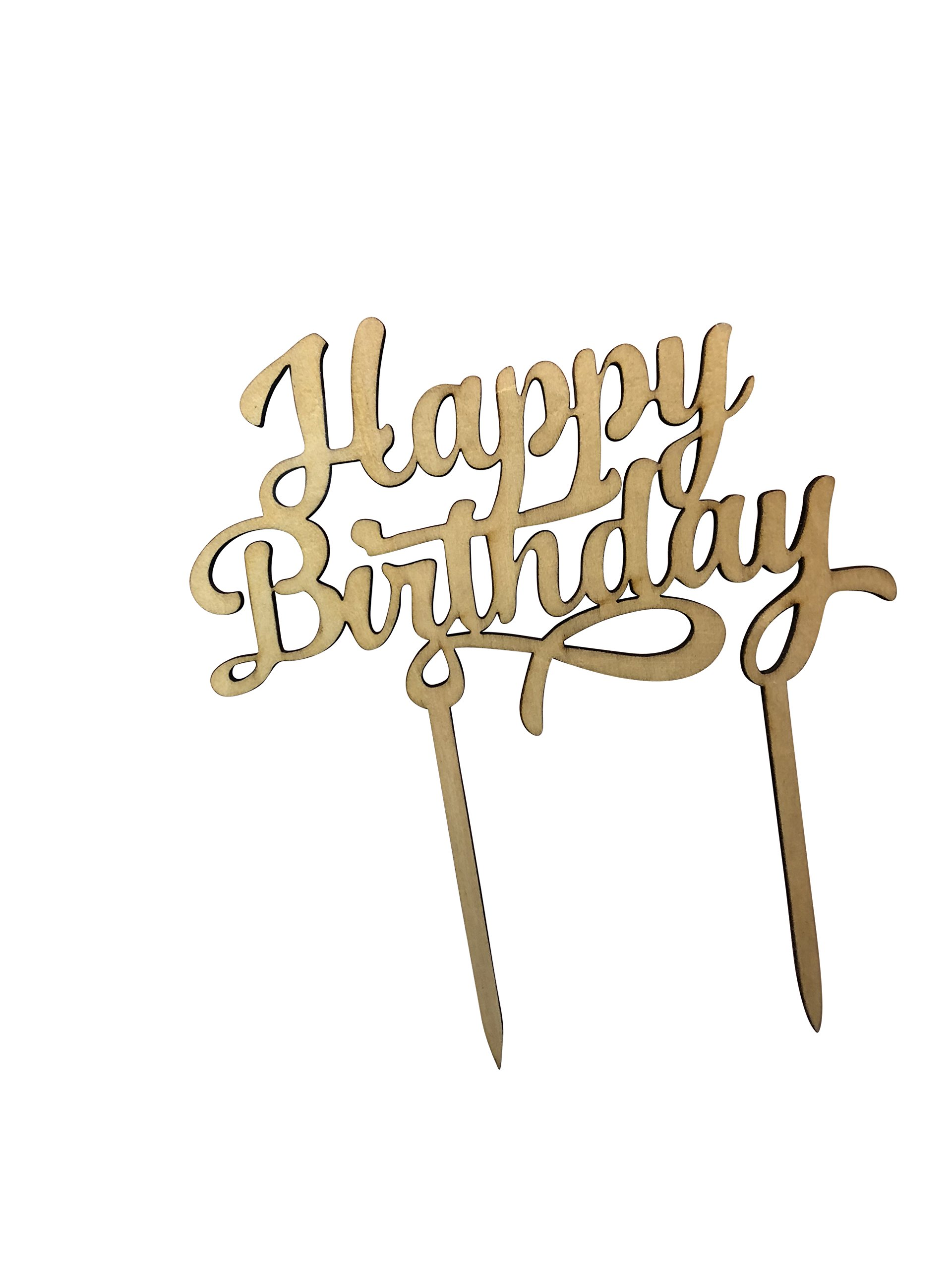 HAPPY BIRTHDAY Wooden Cake Topper - Celebration Cupcakes Decorating Pick Supplies - Cupcake Decor Party Cake Toppers - Food Safe Wood Decorations by Jolly Jon by Jolly Jon (Image #3)
