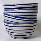 Handmade 6-inch/16 oz Ceramic Stoneware Soup or Cereal Bowls, Blue Lines Design (Set of 4)