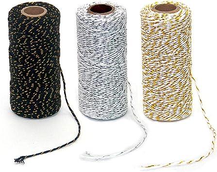 Ewparts - Cuerda de algodón para envolver regalos, 3 rollos, 984 ...