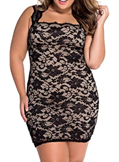 YiYaYo Womens Lace Sleeveless Nude Illusion Cocktail Vintage Clubwear Bodycon Party Dress