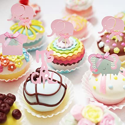 BTSD-home Pink Elephant Cake Topper Baby Elephant Themed Cupcake Picks It Is A Girl Baby Shower Birthday Party Decorations Supplies: Amazon.com: Grocery ...