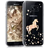 kwmobile Hülle für Samsung Galaxy S7 - TPU Silikon Backcover Case Handy Schutzhülle - Cover klar Einhorn Design Rosegold Transparent