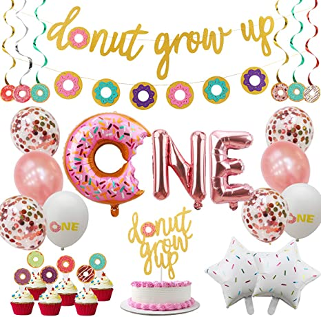 Amazon Com Donut First Birthday Party Decoration Supplies Kit 37pcs 1st Birthday Decorations Including Donut One Foil Balloon Donut Banner Donut Grow Up Banner Cake Topper Swirl Star Foil Latex Balloon Home