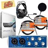 PreSonus AudioBox USB 2x2 Recording System Bundle with PreSonus HD7 Headphones, Gearlux XLR Cable, Instrument Cable, Pop Filter, Studio One Software, and Austin Bazaar Polishing Cloth