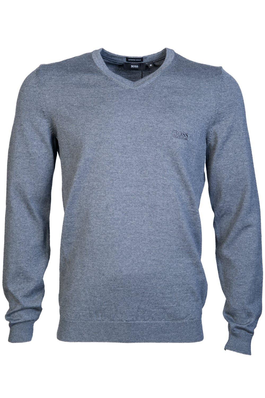 HUGO BOSS Mens V Neck Knitwear BARAM-L 50373737 Size L Grey