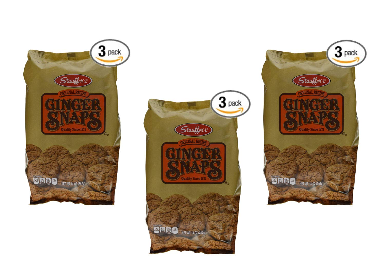Stauffers Cookie Ginger Snap, Original, 14 Ounce (Pack of 3) (3 Pack)