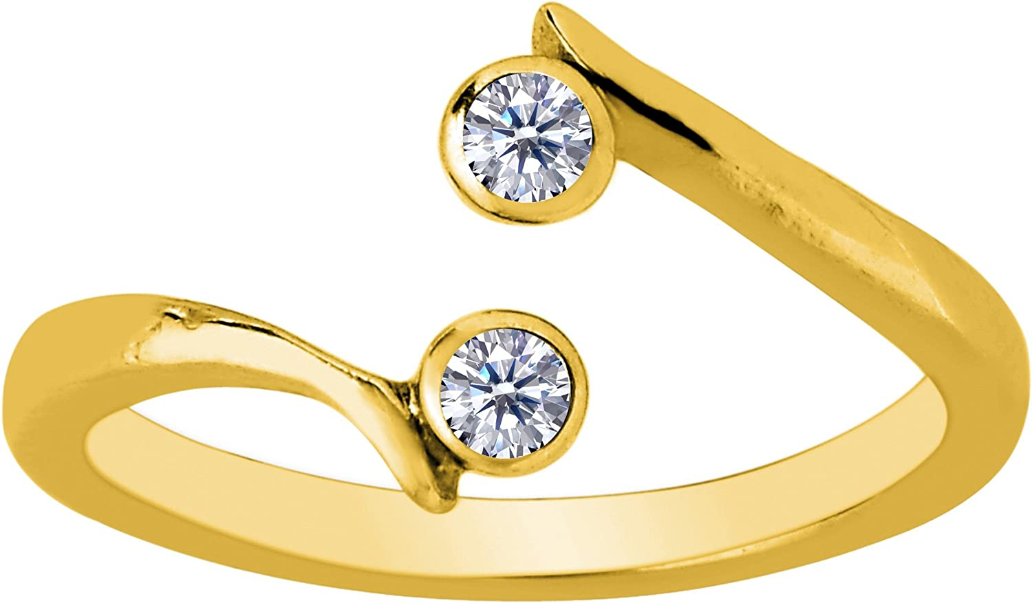 14K Yellow Gold Adjustable Solitaire Toe Ring with CZ