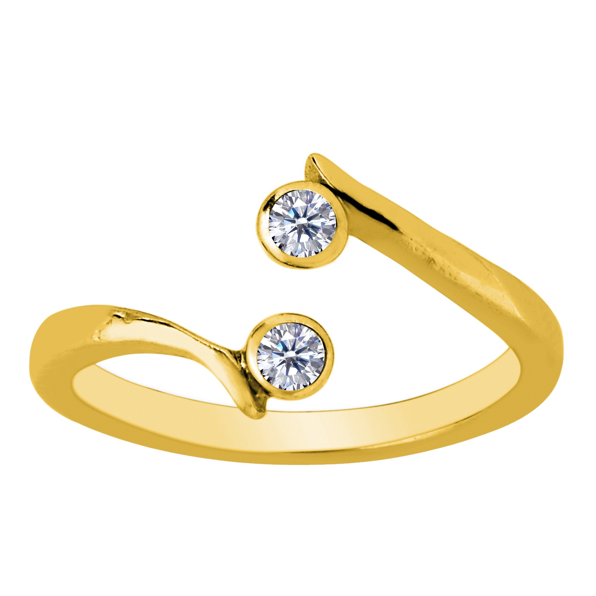14K Yellow Gold Double Solitaire With CZ By Pass Style Adjustable Toe Ring by Jewelry Affairs