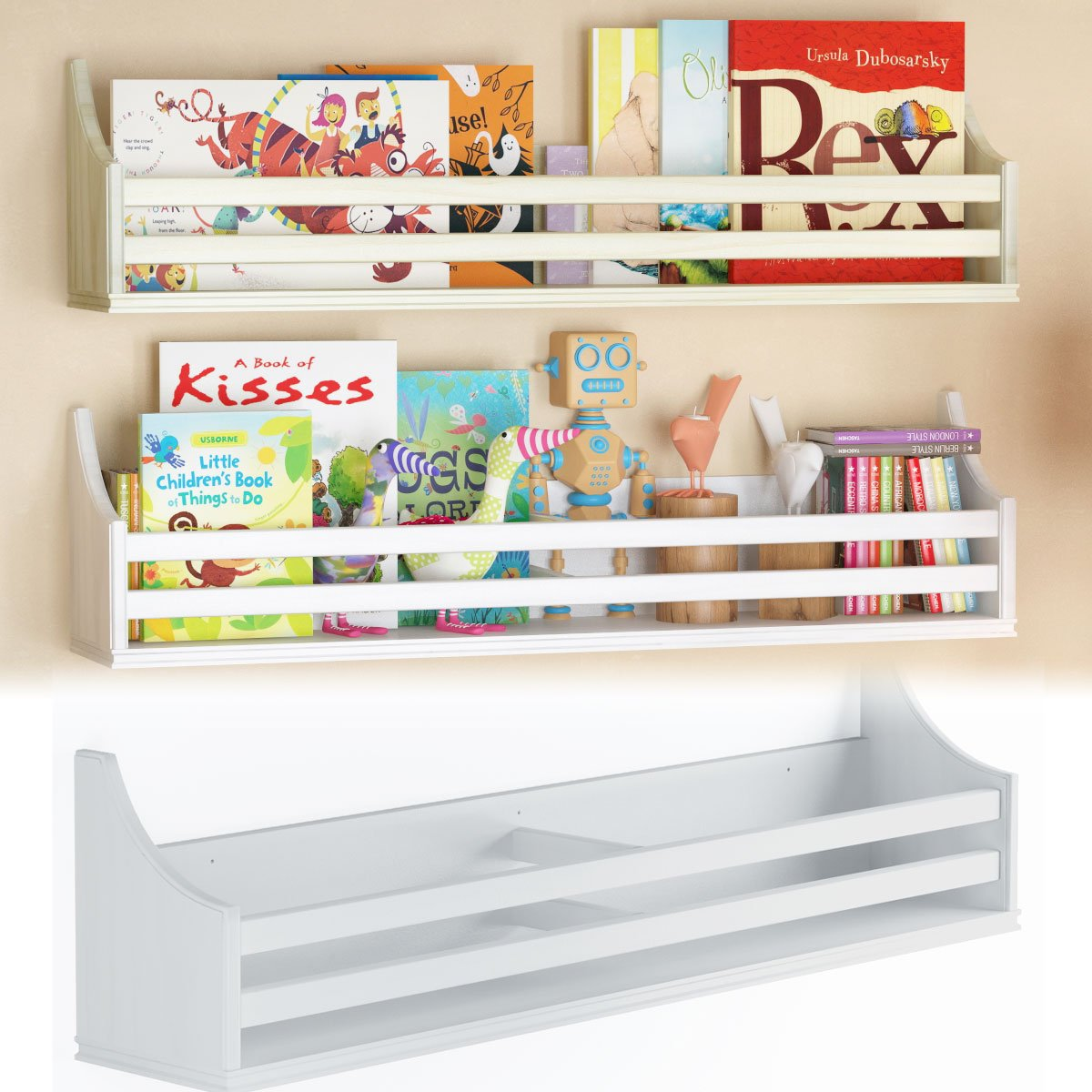 BGT Children's Wood Wall Shelf Multi Purpose 30 Inch Bookcase Toy Game Storage Display Organizer Traditional Country Molding Style Ships Fully Assembled (White)