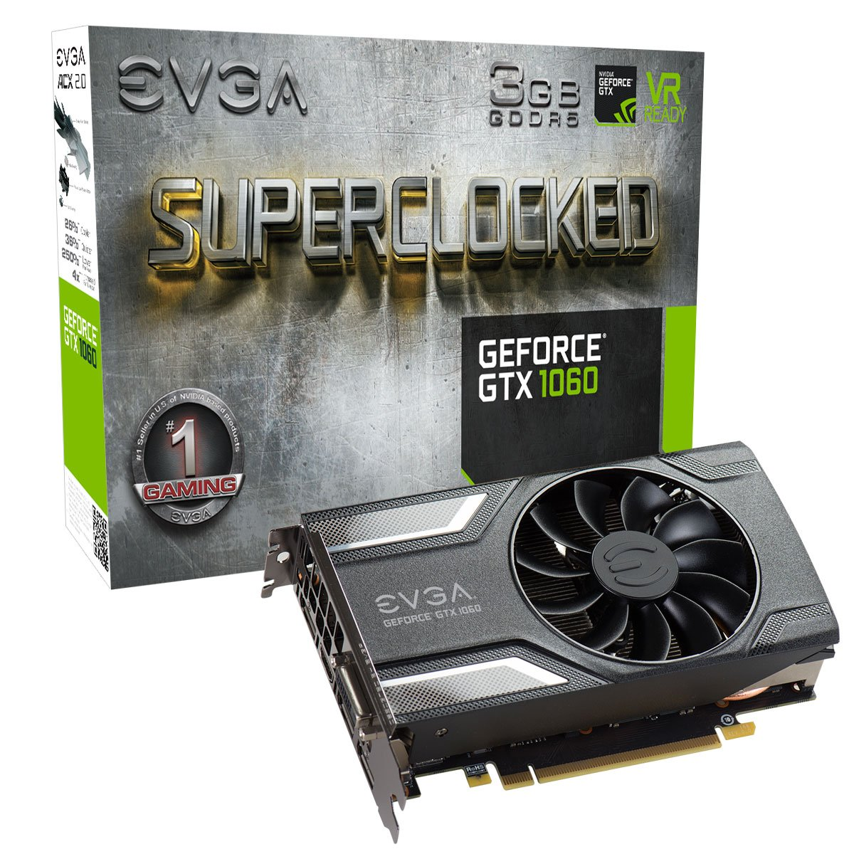 EVGA 03G-P4-6162-KR - Tarjeta gráfica (GeForce GTX 1060, 3 GB, GDDR5, 192 bit, 7680 x 4320 Pixeles, PCI Express x16 3.0): Amazon.es: Informática