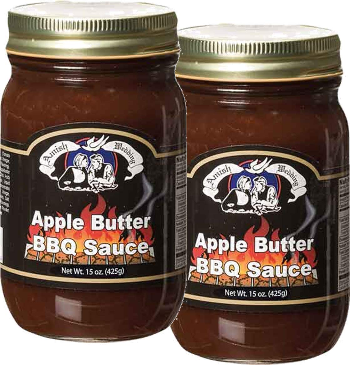 Amish Wedding Old Fashioned BBQ Sauce, Your Choice of 4 Flavors, TWO 15 oz. Jars (Apple Butter)
