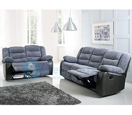 Fabulous Sleepkings Rio Cord Leather Recliner Sofa Set 3 2 Grey Squirreltailoven Fun Painted Chair Ideas Images Squirreltailovenorg