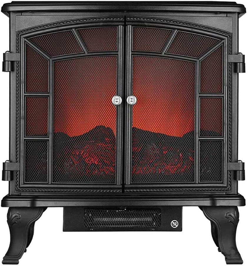 HEWEI Post Electric Fireplace Mantel Surround Firebox Freestanding Corner Fireplace Home Space Heather Adjustable LED Flame Remote Control 750 W 2000 W Black