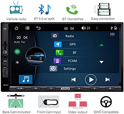 ATOTO W3 W3272 Double Din Car Stereo,Car FM/AM Radio with RBDS,Bluetooth  5 0 w/aptx Codec,Android Phone Link/mirroring,2 Din Capacitive 7in