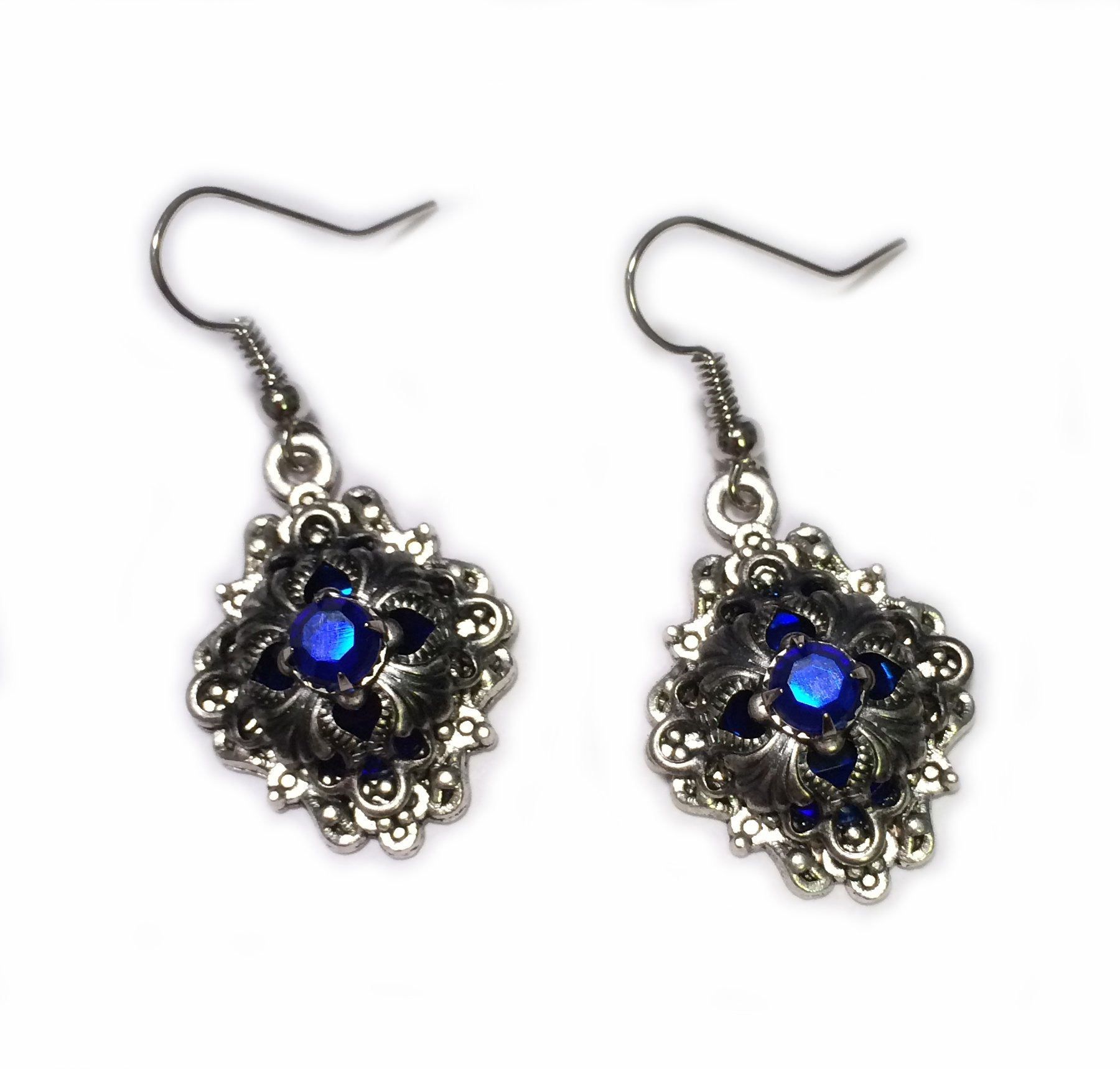 Moon Maiden Jewelry Simple Caged Filigree Earrings: Dark Blue