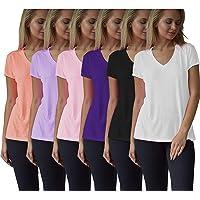Women's Everyday Flowy Slub Burnout Active Casual Workout V Neck T Shirt Tops- 6 Pack