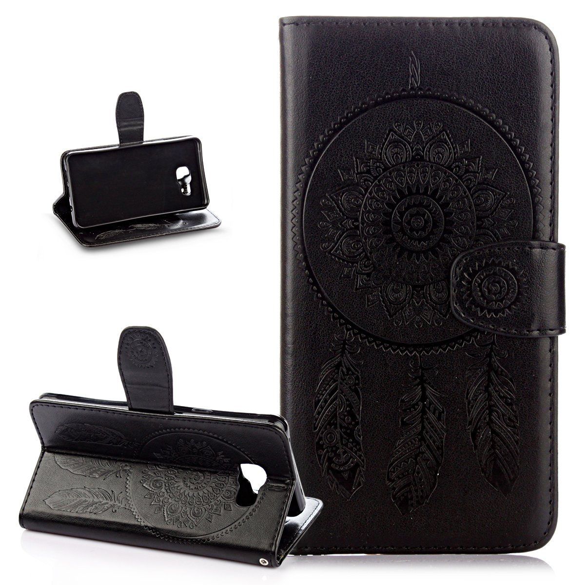 Galaxy A5 2016 Case, Wallet Case for Galaxy A5 2016, ikasus Embossing Dream Catcher Ethnic Tribal Feather Campanula PU Leather Fold Wallet Pouch Case Premium Leather Wallet Flip Stand Credit Card Holders Case Cover for Samsung Galaxy A5 (2016) SM-A510F 5.2