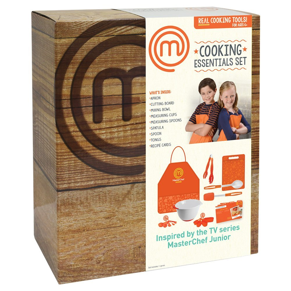 Masterchef apron (white) official merchandise - Amazon Com Masterchef Junior Cooking Essentials Set 9 Pc Kit Includes Real Cookware For Kids Recipes And Apron Toys Games
