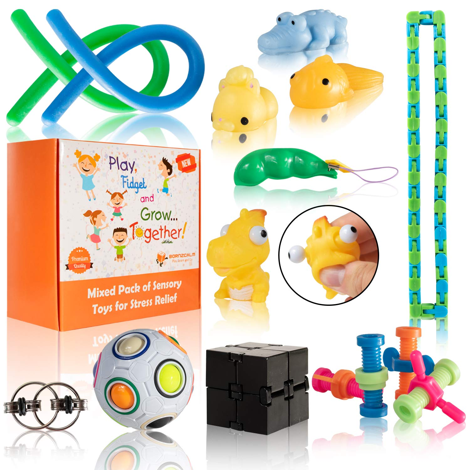 Fidget Toys for Sensory Kids Pack - Fidgits and Sensory Toys for Autistic Children Set as Sensory Fidgets for Classroom - Stress Relief and Calm Down Toys Kit Perfect for ADHD ADD Anxiety Autism by Born2Calm