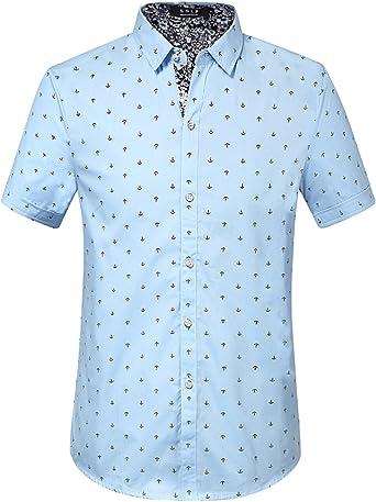 SSLR Camisa Manga Corta de Algodón Estampado de Anclas Casual para Hombre: Amazon.es: Ropa y accesorios