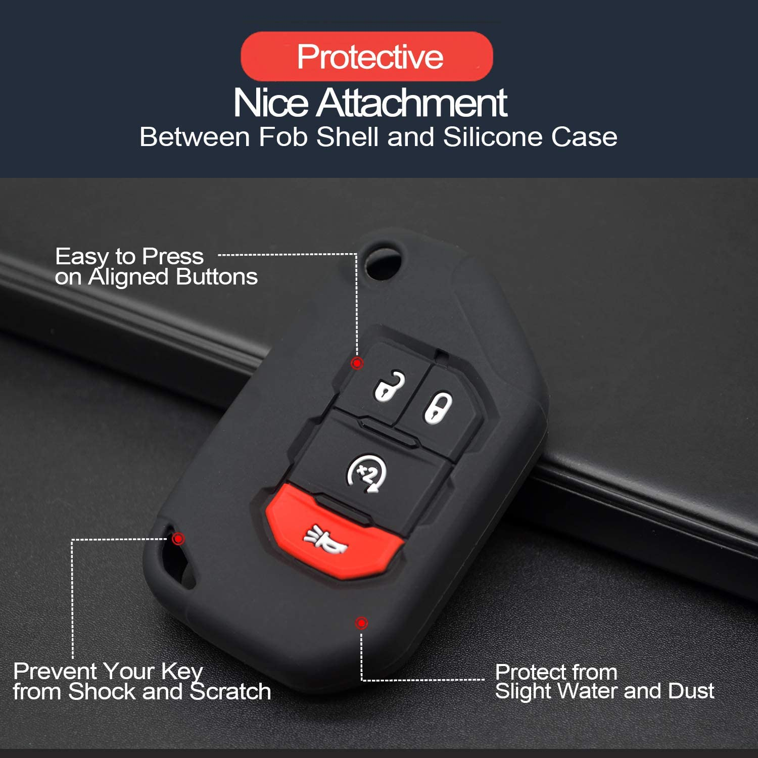2pcs Compatible with 2020 2019 2018 Jeep Wrangler JL Gladiator JT Flip 4 Buttons Black Silicone Case Cover Protector Keyless Remote Holder for JLU Sport S Sahara Rubicon Moab Overland 68292944AA