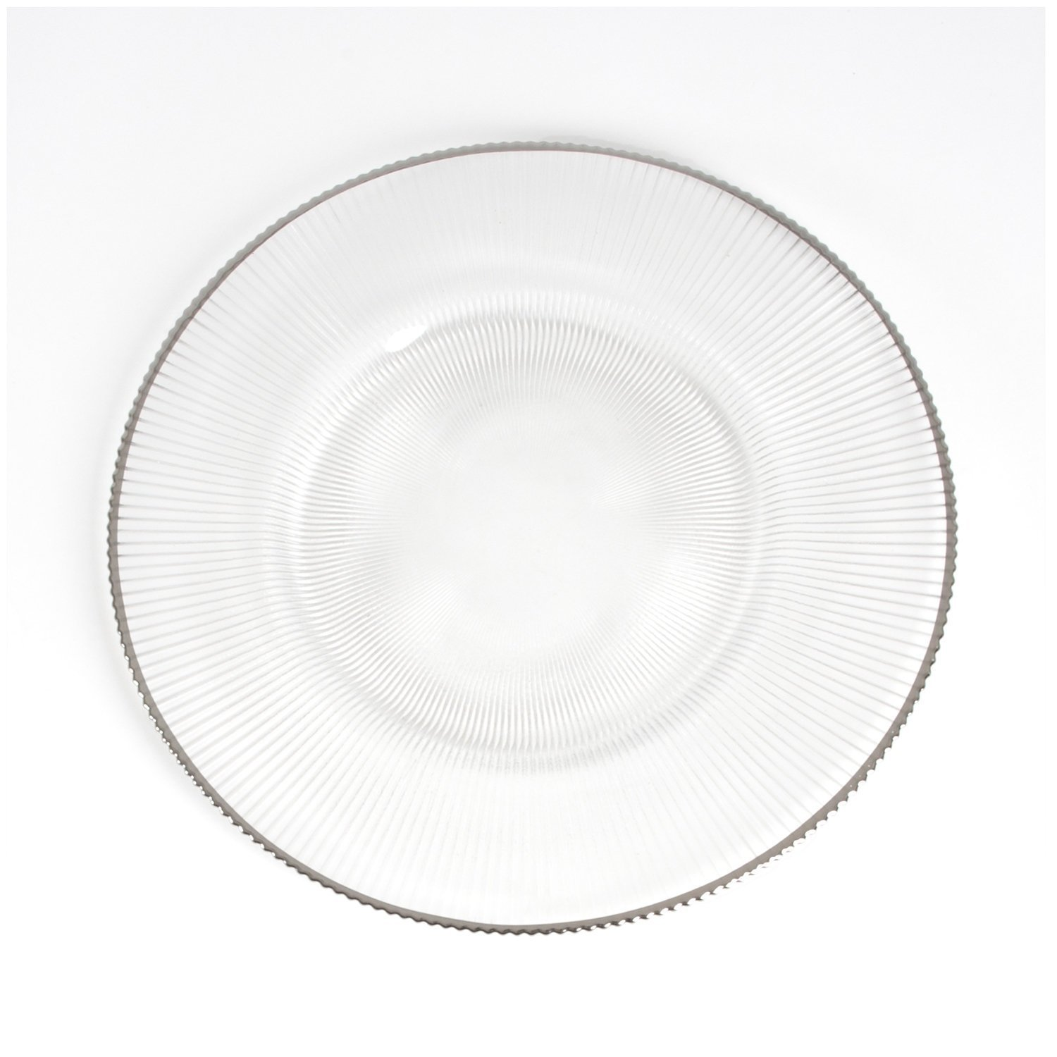 Fennco Styles Pleated Design 13'' Decorative Glass Charger Plate-Set of 6