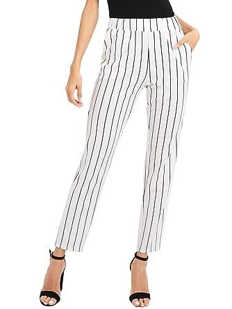 dfbf5fdb29faf DIDK Femme Pantalons Cigarette À Rayures Pantalons À Taille Élastique  Pantalons Conique Pantalons Longue