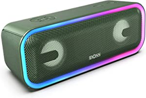 DOSS SoundBox Pro+ Wireless Bluetooth Speaker with 24W Impressive Sound, Booming Bass, Wireless Stereo Pairing, Mixed Colors Lights, IPX5 Waterproof, 15 Hrs Battery Life, 66 ft Bluetooth Range - Green