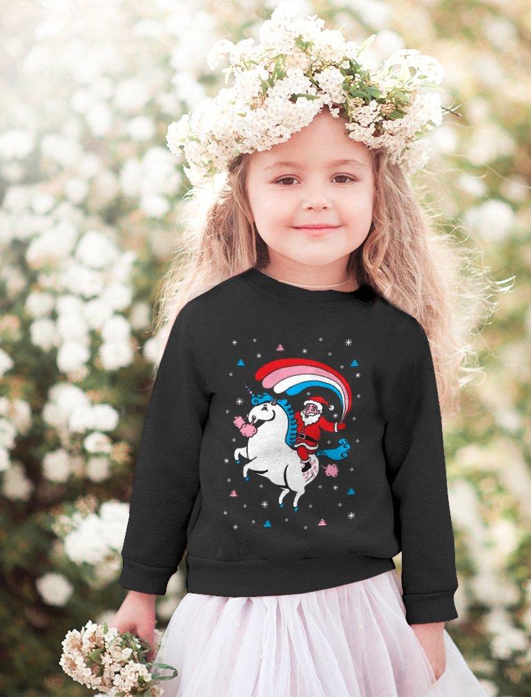 Santa Riding Unicorn Rainbow Ugly Christmas Toddler Kids Sweatshirt 6