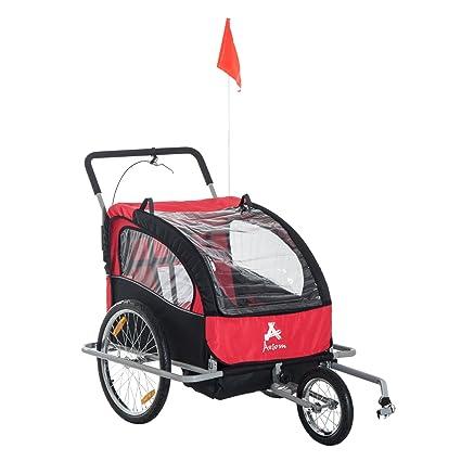 c181d2f80f8 Aosom 2-in-1 Double Baby Bike Trailer Jogger Stroller (Black/Red ...