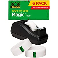 Scotch Magic Tape, 6 Rolls with Dispenser, Numerous Applications, Invisible, Engineered for Repairing, 3/4 x 1000 Inches…