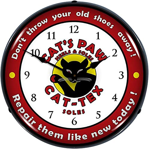 Collectable Sign and Clock 710023 14 Cats Paw Lighted Clock