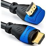 deleyCON 0,5m HDMI câble à angle 270° degré - compatible avec HDMI 2.0/1.4 - UHD 4K HDR 3D 1080p 2160p ARC - Haute vitesse avec Ethernet - Noir