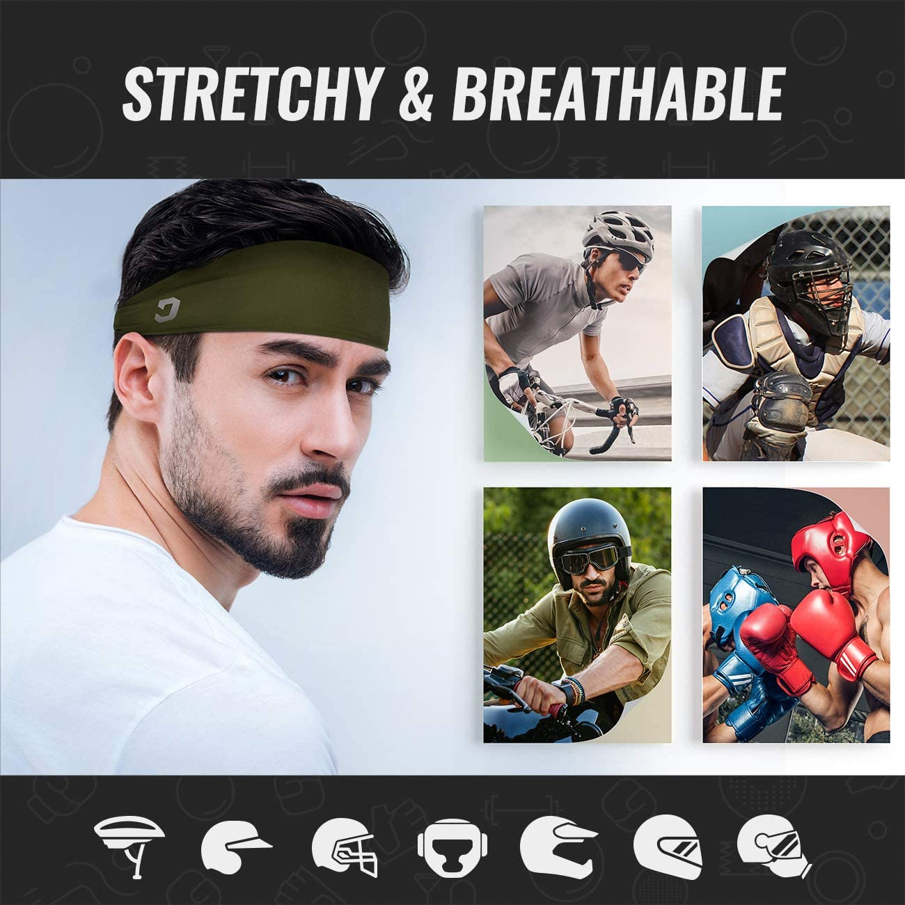 Vinsguir Sports Headbands for Men and Women (4 Pack) - Sweat Band Moisture Wicking Workout Sweatbands for Running, Cross Training, Yoga and Bike - Unisex Hairband (4 Color(Black,Blue,Gray,DarkGreen)) : Sports & Outdoors