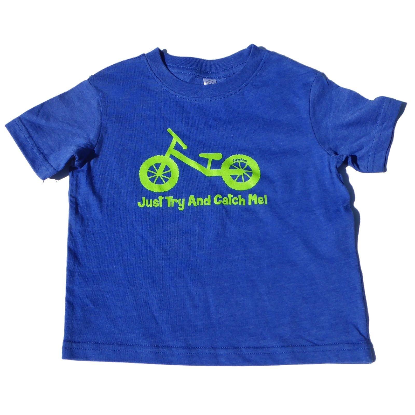 ZippyRooz Boys Toddler & Little Kids Balance Bike Tee Shirt Just Try and Catch Me! (2T)
