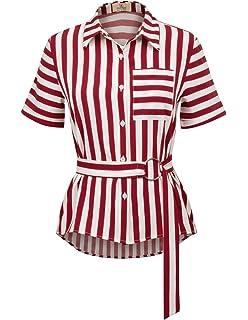 GRACE KARIN Womens Short Sleeve Collar Shirt Striped Blouses Shirt Tops CLAF0068
