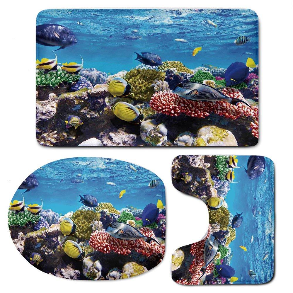 3 Piece Bath Mat Rug Set,Ocean,Bathroom Non-Slip Floor Mat,Tropical-Corals-Fish-School-Natural-Life-in-Shallow-Underwater-Marine-Seascape-Image,Pedestal Rug + Lid Toilet Cover + Bath Mat,Multicolor