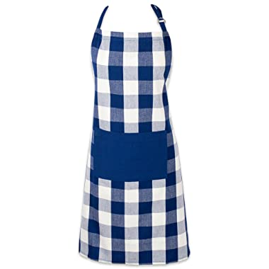 DII Cotton Adjustable Buffalo Check Plaid Apron with Pocket & Extra-Long Ties, 32 x 28 , Men and Women Kitchen Apron for Cooking, Baking, Crafting, Gardening, & BBQ - Navy & Cream
