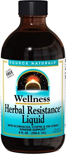 Source Naturals Wellness Herbal Resistance Liquid Immune Defense Supplement Immunity Booster with Echinacea, Elderberry Yin Chiao – Alcohol Free – 8 OZ