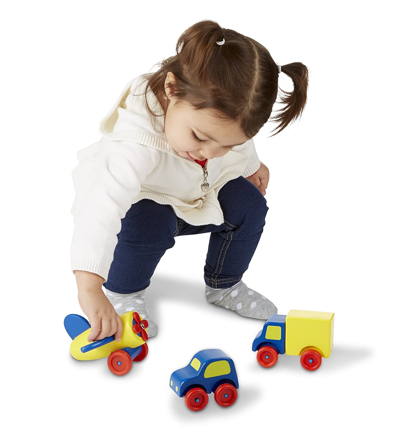 Amazon Melissa & Doug Deluxe Wooden First Vehicles Set With