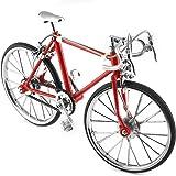 ミニチュア自転車 バイク模型 自転車模型 ネイビー ブラック レッド 三色   1/10 合金製 ドロップハンドル モデル 置物 小物 撮影 写真 飾り (レッド)