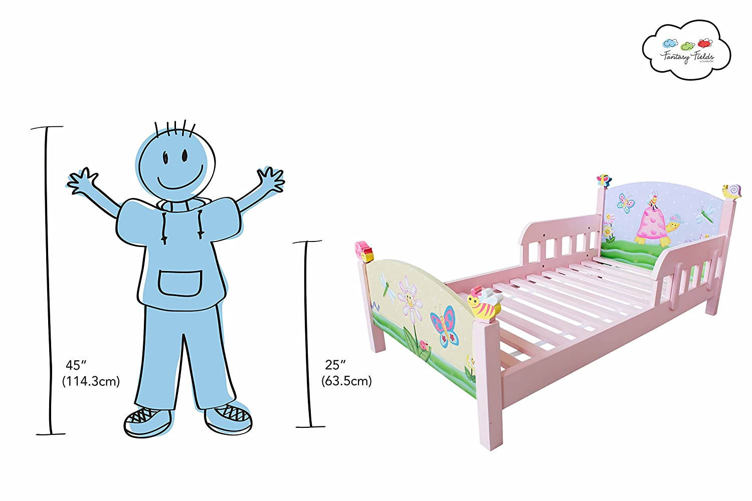 Amazon.com: Teamson Design Corp Fantasy Fields   Magic Garden Thematic  Toddler Bed | Imagination Inspiring Hand Crafted U0026 Hand Painted Details  Non Toxic, ...