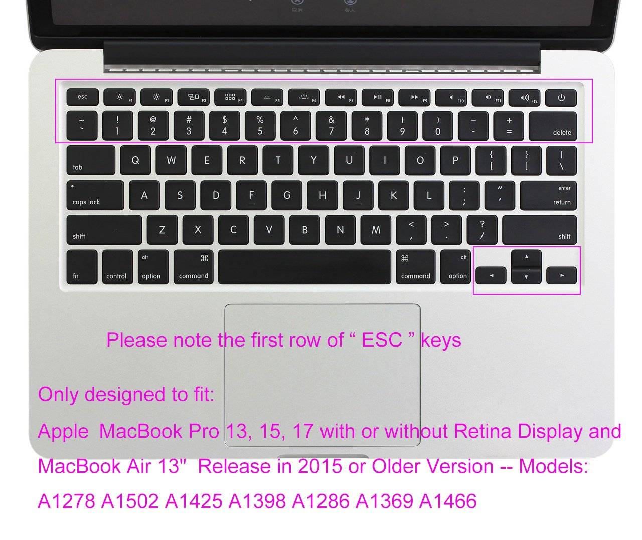 Amazon.com: Backlit See Through Hollow Out Silicone Keyboard Cover Skin for MacBook Air 13 inch A1369 A1466 & 2015 or Older Versions MacBook Pro 13 15 inch ...