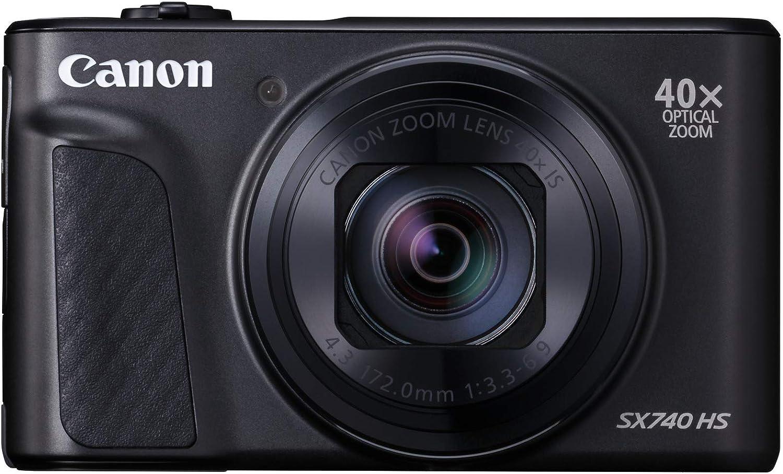 Canon PowerShot SX740 HS - Cámara compacta de 20.3 MP (40x Zoom óptico, 4K UHD, DIGIC 8, 5 Ejes, LCD desplegable, 10 fps, Bluetooth, WiFi) Negro